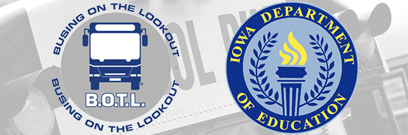 Busing on the Lookout and Iowa Department of Education Logos